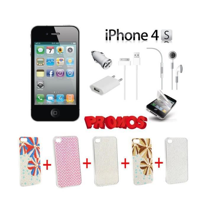 IPHONE 4S 16GO NOIR PACK 5 COQUES STRASS COULEURS DIFFERENTES ...