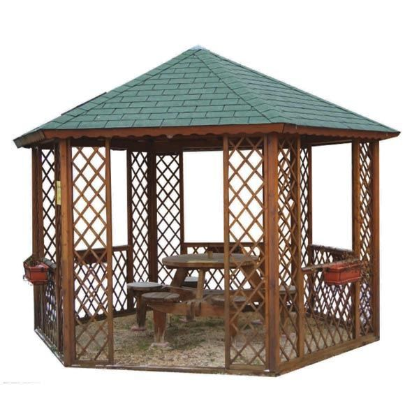 kiosque gloriette hexagonale bois diam tre achat vente kiosque gazebo kiosque. Black Bedroom Furniture Sets. Home Design Ideas