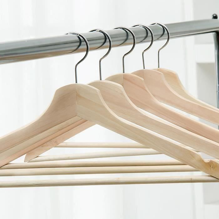 8 bois naturel cintres pantalon BAR 43 cm en Bois Vêtements Garde-Robe Chemise Jupe