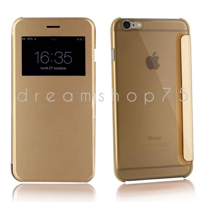 housse coque iphone 5 5s flip cover view gold or dreamshop75 achat coque bumper pas cher. Black Bedroom Furniture Sets. Home Design Ideas