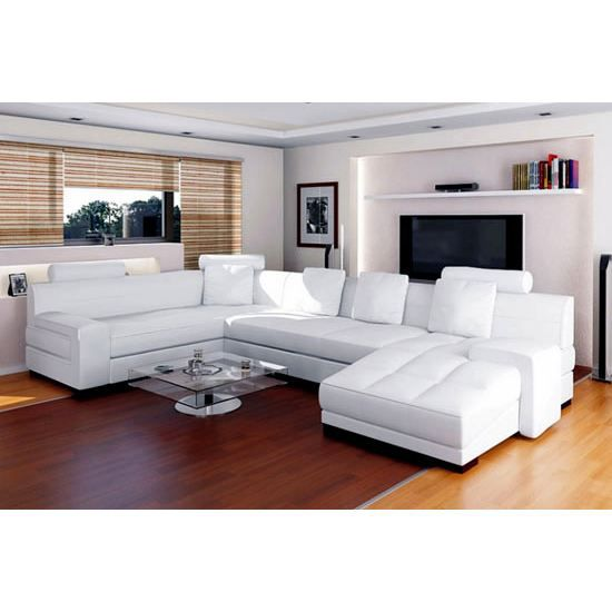 canape cuir 8568 blanc achat vente canap sofa divan cuir cdiscount. Black Bedroom Furniture Sets. Home Design Ideas