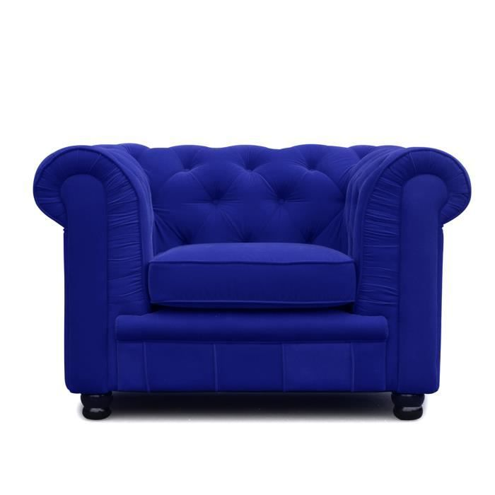 fauteuil chesterfield 1 place bleu velours ch achat. Black Bedroom Furniture Sets. Home Design Ideas