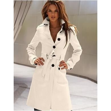 long manteau femme veste caban tendance blanc achat vente veste cdiscount. Black Bedroom Furniture Sets. Home Design Ideas