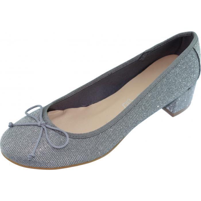 LAETITIA Chaussure Femme trotteur à talon de qualité escarpins fabriquée en Espagne marque Angelina cuir argent
