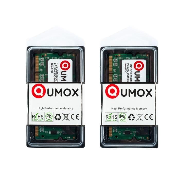 MÉMOIRE RAM QUMOX 2GB 2Go (2x1GB) SODIMM DDR (200 broches) ...