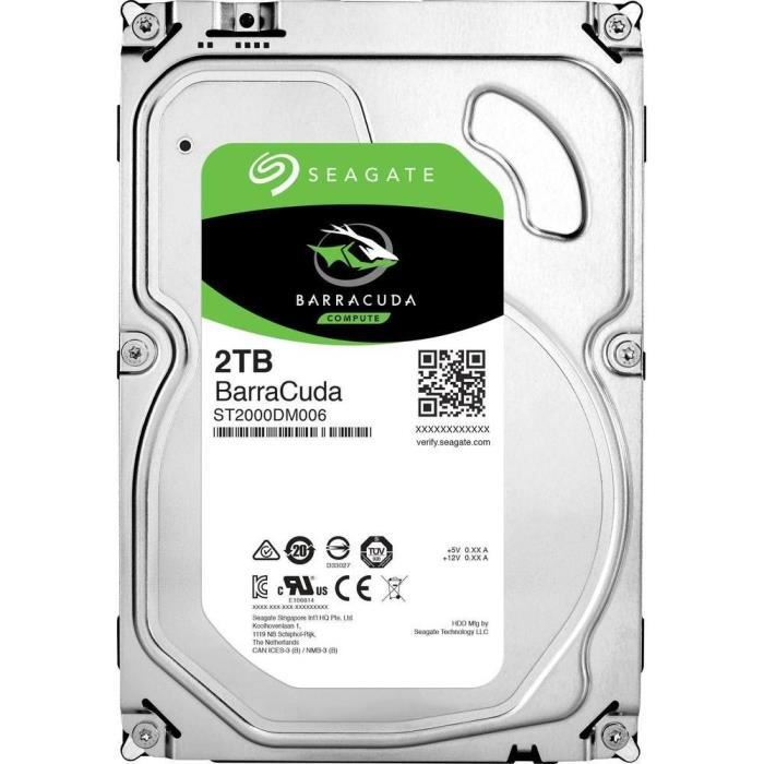 disque dur seagate barracuda 2to 7200 trs min sata 6gb s. Black Bedroom Furniture Sets. Home Design Ideas