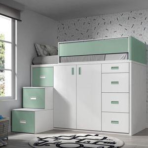 LIT MEZZANINE Lit mezzanine avec armoire et tiroirs -165x204x165