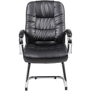 CHAISE Chaise visiteur en cuir Verona - rembourrée, noir