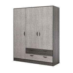 ARMOIRE DE CHAMBRE Armoire 3 portes 2 tiroirs - NEWTON - L 161 x l 55
