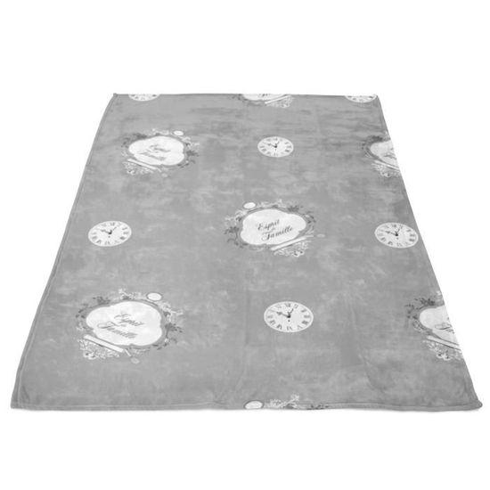 Soleil dOcre 510048 Couverture Polaire Polyester//Microfibre Gris Clair 180 x 220 cm