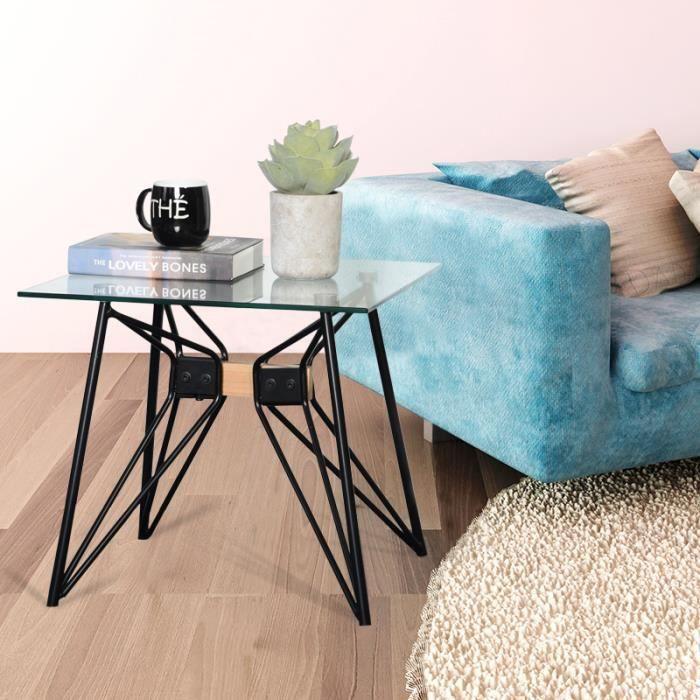 Table Basse -Table d'appoint - Table basse design -Table basse de salon - Carrée en Verre 50*50cm