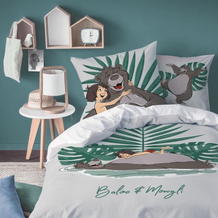 Housse de couette et taie d'oreiller 100% coton Disney Le Livre de la Jungle