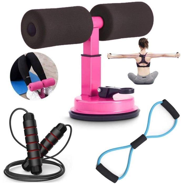 Abdos Musculation Kit, Abdominaux Sit Up Bar + Bande Elastique Fitness + Corde a Sauter, Sport Maison Materiel, Taille Abdominale Mu
