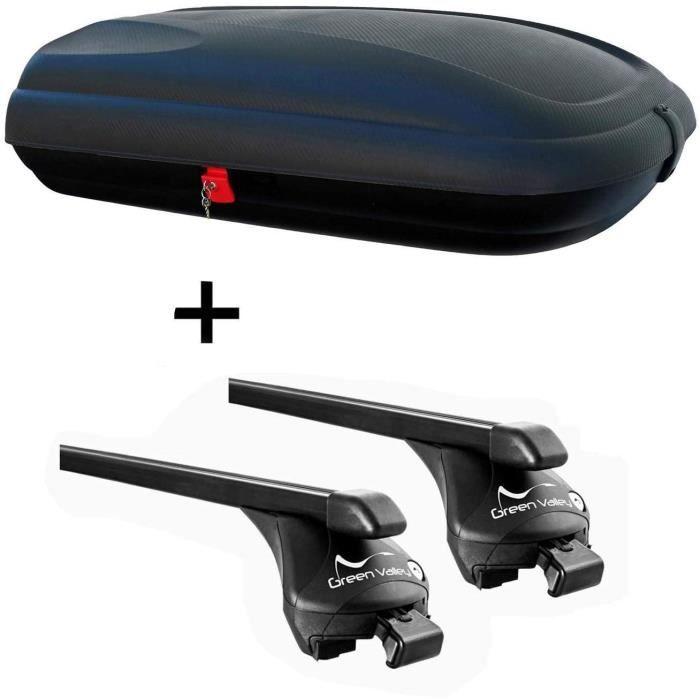 Coffre de toit VDPCA320 320 litres aspect carbone + barres de toit Quick compatible avec Skoda Kodiaq (SUV 5 portes) à partir d A137