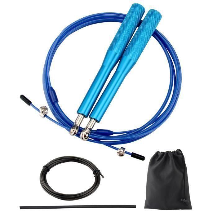 Corde à Sauter Fitness Professionnelle - Corde de Vitesse pour Entrainement CrossFit - Sac et Câbles Supplémentaires Inclus(Bleu)