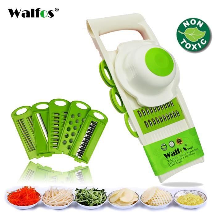 Hachoir manuel,WALFOS ustensile de cuisine pour éplucher, râper et éplucher les légumes avec 5 lames pour râper les carottes et