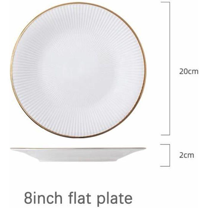 Assiette,Service de vaisselle et assiettes en porcelaine blanche, incrustation dorée de luxe, assiettes - Type 8 inch flat plate -A