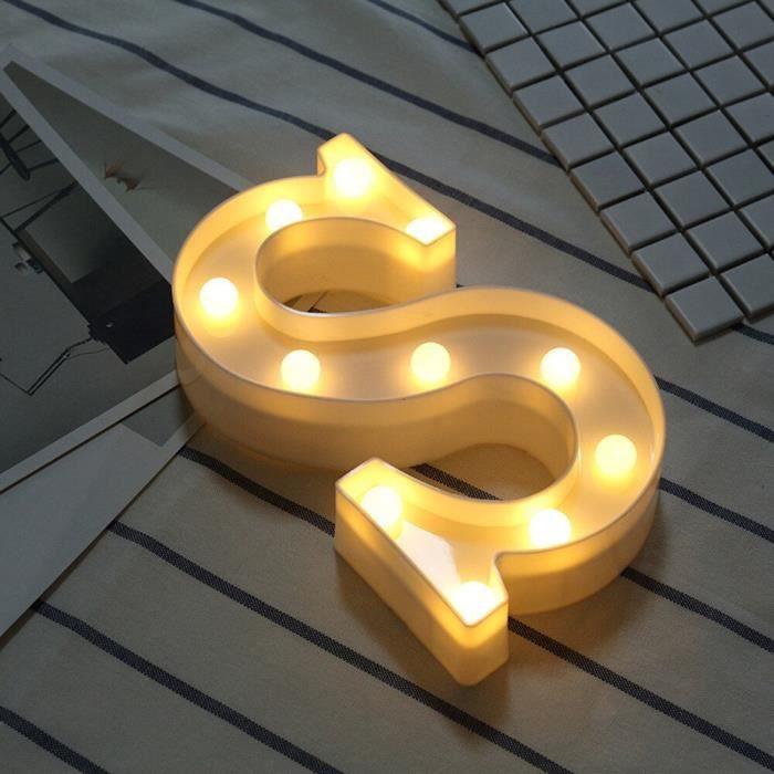 Guirlande lumineuse,Veilleuse lumineuse à LED, lettres lumineuses Led lettres anglaises, décor romantique pour fête de - Type S