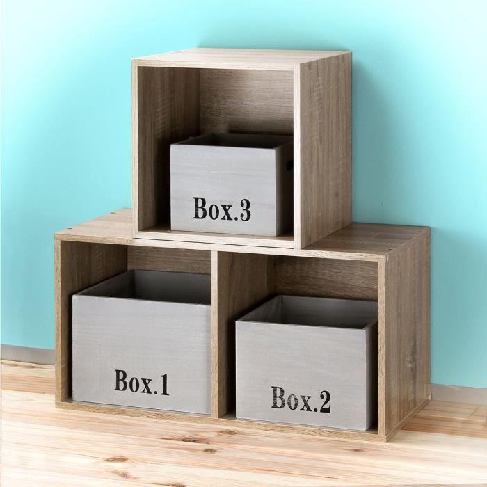 Cubes empilables en bois vendus par 3 Gris Clair