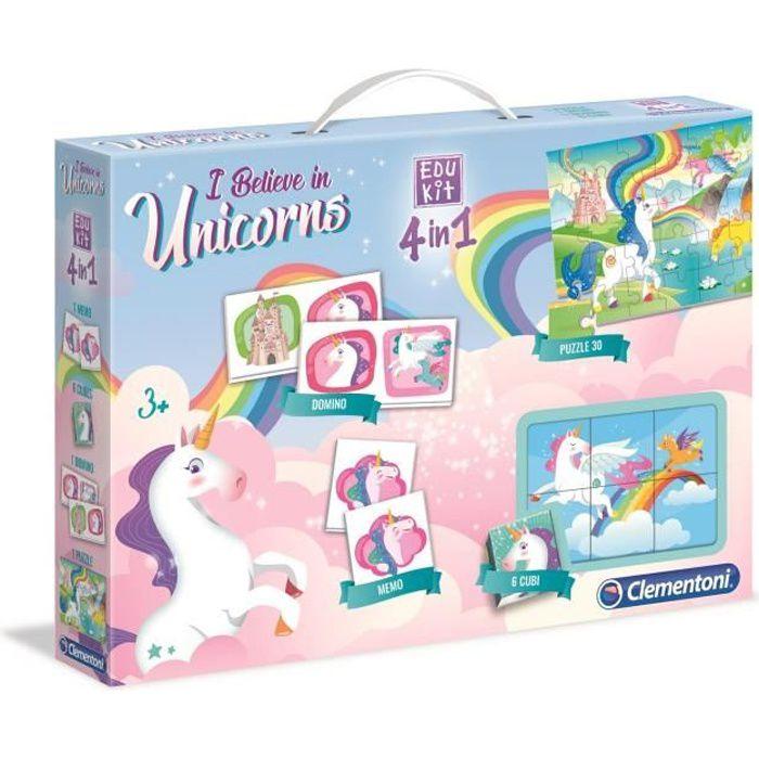 CLEMENTONI Edukit 4 en 1 - Licornes - Mémo, Domino, Puzzle et Cubes