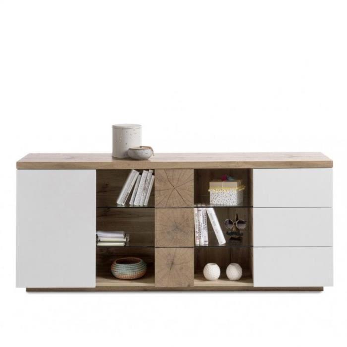 Buffet HERNING 180 cm laqué blanc mat et décor chêne noueux 2 portes 3 tiroirs bi color MDF Inside75