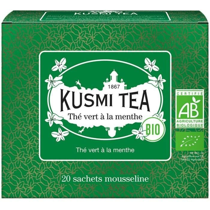 KUSMI TEA Thé Vert à la Menthe - Bio - Etui 20 sachets mousseline - 40 g