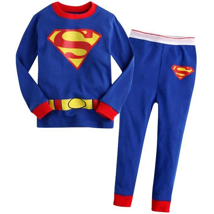 2-7 Ans Enfant Fille Garçon Pyjamas Unisexe Super-héro 2 PCS Ensemble Vêtement : T-shirt à Manches Longues + Pantalon