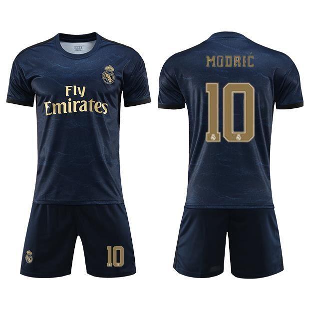 Real Madrid Maillot Extérieur 2019-20 Homme Enfant Maillot de Foot Short Footbal Soccer No.10 Luka Modric Nouveau Survêtement Pas