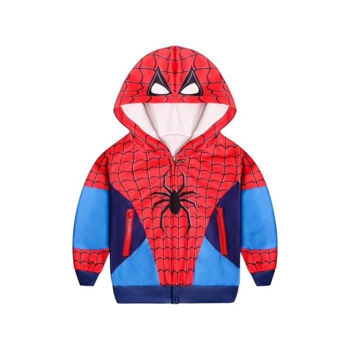 cosplay garçon Veste zippée Encapuchonné SWEATSHIRT Chandail Spiderman rouge