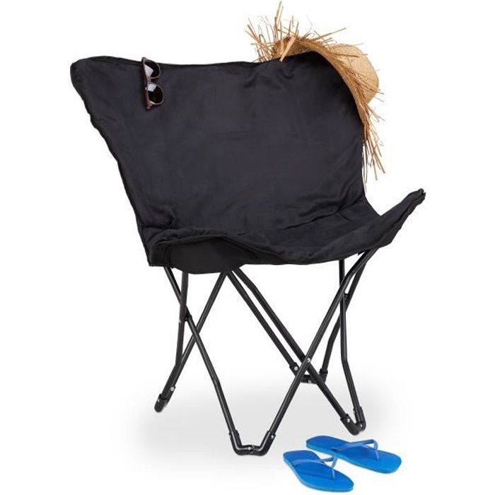 Relaxdays Chaise papillon chaise pliante Fauteuil camping fauteuil relaxation chaise pêche, noir
