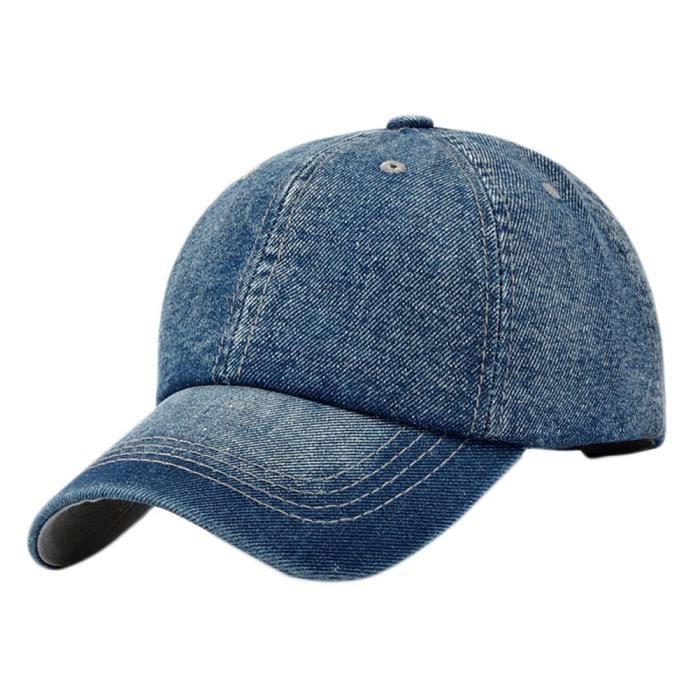 Casquette de Baseball Jeans Chapeau de Golf Coton Réglable Casquette Hip-hop Sport Protection Solaire Cap pour Homme FemBleu FoncéSJ