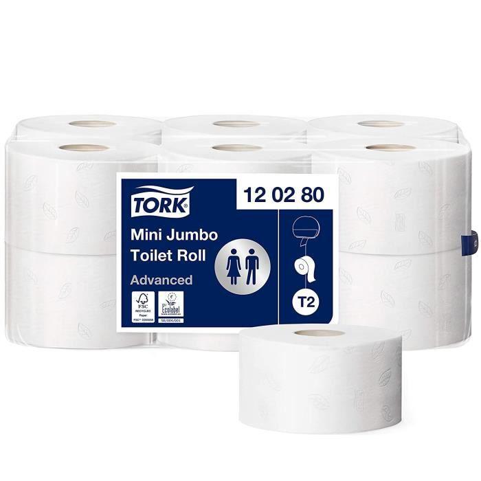 Tork 120280 Papier toilette Mini Jumbo Advanced - Blanc - 2 plis - lot de 12 rouleaux - 12 x 850 feuilles