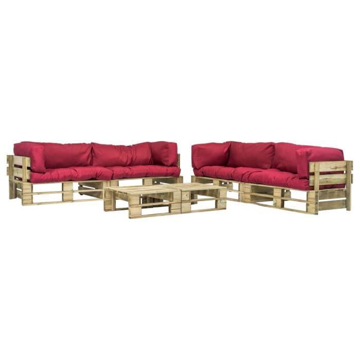 Canapés de jardin palette 6 pcs Coussins rouge Bois vert FSC - Meubles/Meubles de jardin/Ensembles de meubles d'extérieur - Rouge -