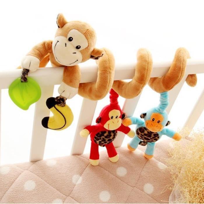 Vococal® Lit jouet pour Bébé Spirale Jouets de Singe en Peluche Pour bebe Lit et Pousette