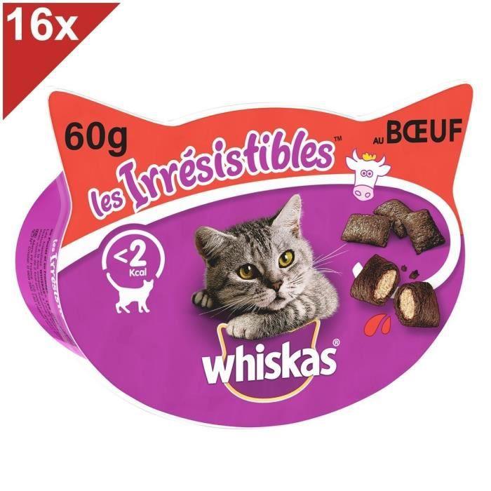 WHISKAS Les Irrésistibles Friandises au boeuf pour chat 16x60g