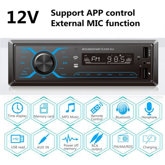 Autoradio Bluetooth Main Libre, 12V Radio Voiture Récepteur avec bouton tactile, Support Contrôle APP à distance et Micro externe