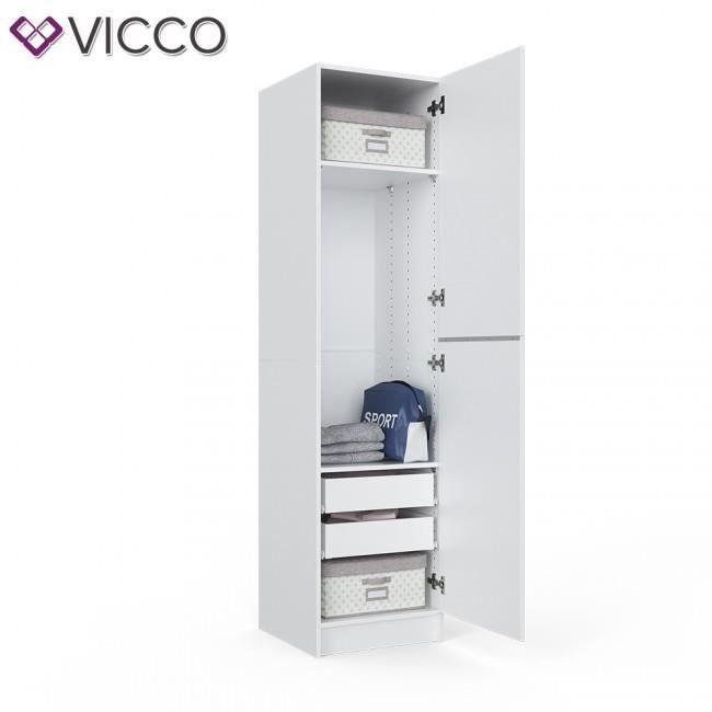 CHAMBRE COMPLÈTE  Armoire ouverte Etagère blanche tiroirs 50x200x50
