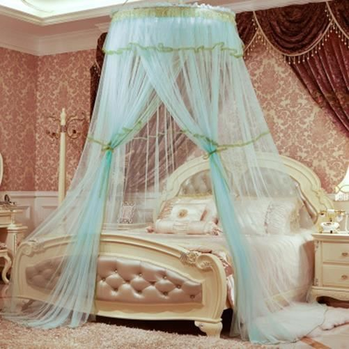 moustiquaire de lit double ciel de lit fille princesse accessoire d coration romantique bleu. Black Bedroom Furniture Sets. Home Design Ideas