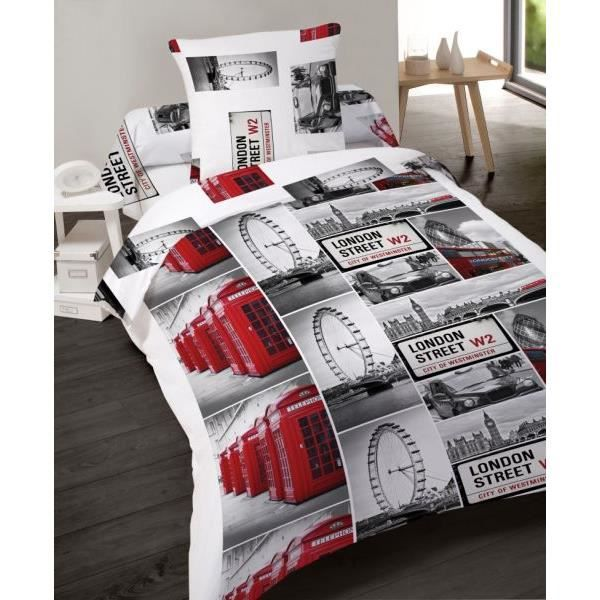 housse de couette 140x200cm 1 taie d oreiller microfibre london street dv achat vente. Black Bedroom Furniture Sets. Home Design Ideas