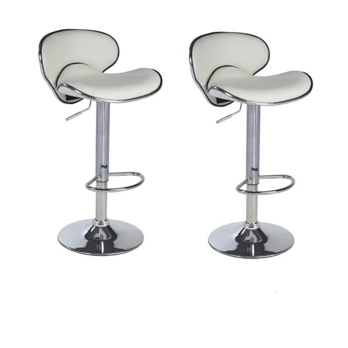 lot de 2 tabourets de bar design simili cuir blanc achat. Black Bedroom Furniture Sets. Home Design Ideas