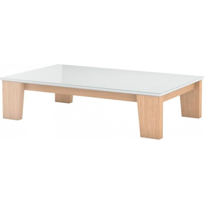 Table Basse Design Ch Ne Naturel Plateau Laqu Blanc