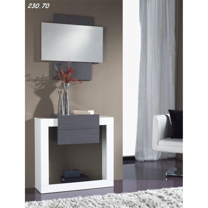 console avec miroir lula 13 70 blanc cendr achat vente console console avec miroir lula. Black Bedroom Furniture Sets. Home Design Ideas