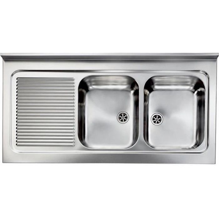 Vier professionnel poser inox rossa 2 bacs 1 gouttoir for Table evier inox professionnel