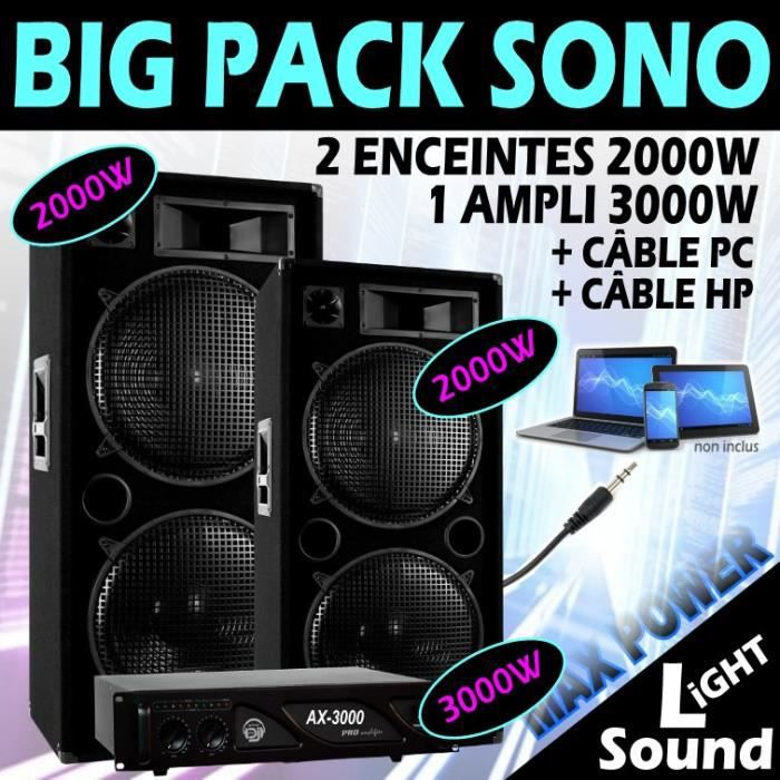 PACK SONO PACK DJ 2 ENCEINTES SONO 2x2000W Max + 1 AMPLI 300