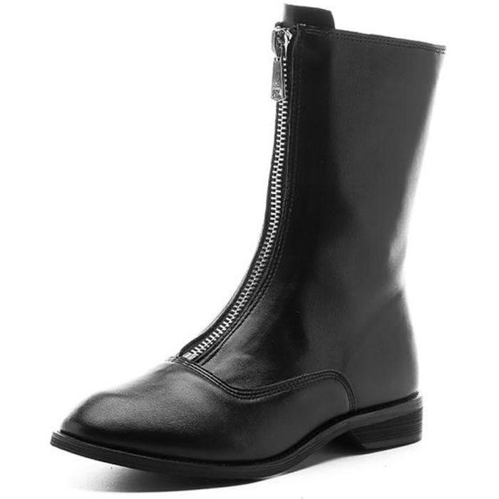 cuir automne Chaud en pu Boots 2019 boot Bottes Femme Nouveau nO08wPk