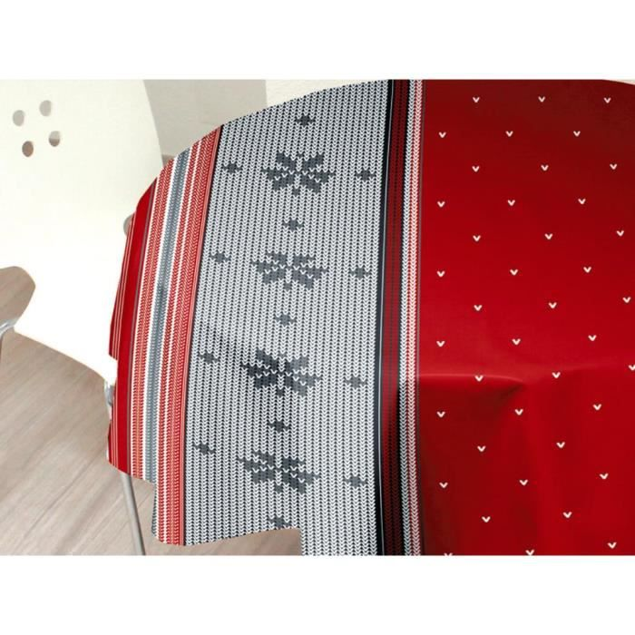 nappe toile cir e ovale 140x240 cm neige rouge achat vente nappe de table cdiscount. Black Bedroom Furniture Sets. Home Design Ideas