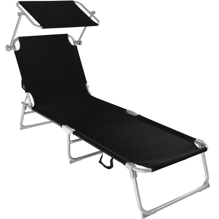Chaise de Camping Bain de Soleil de Plage avec Coussin Gris tidyard 2 pcs Chaise de Jardin Pliable Bain de Soleil Pliable