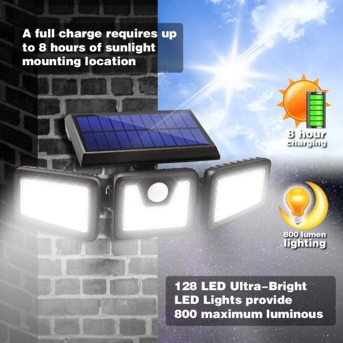 Lampe Solaire Extérieure étanche Durable 128 Lumière Solaire Détecteur Mouvement