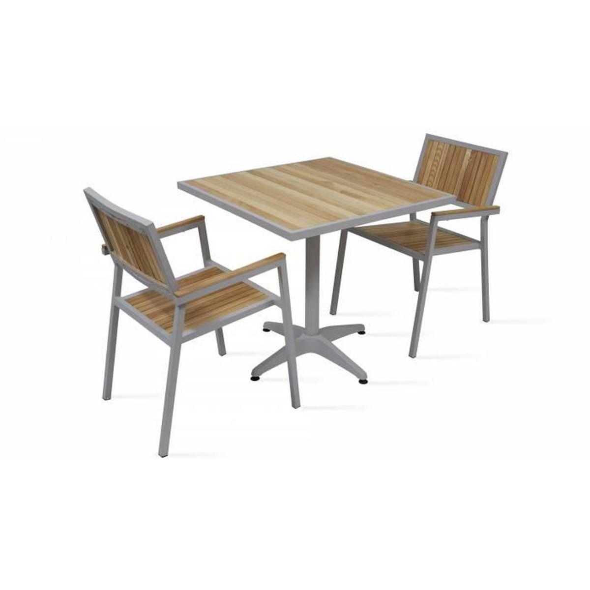 Salon de jardin - Table carrée et 2 chaises en alu et bois ...