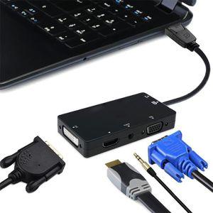 ADAPTATEUR AUDIO-VIDÉO  4 en 1 DisplayPort DP vers VGA DVI HDMI Audio USB